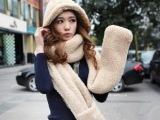 百搭女款秋冬羊羔绒连帽毛绒加厚情侣围脖围巾帽子手套一体女