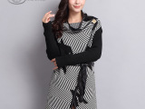 秋冬新款女式中长款针织开衫 系腰带修身中长款针织外套厂家直销