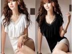 特价 经典爆款韩版女装V领拼接花边蕾丝短袖上衣性感修身雪纺衫