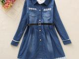 棉质百搭学生外套 女童春装韩版时尚牛仔衬衣裙2件套童装青少年