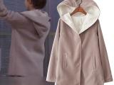 女装货源代发加盟 韩版宽松双面呢学院气质百搭中长连帽外套