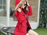 2015新冬季中长款棉服修身韩版大毛领女装棉衣大码棉袄加厚外套潮