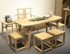 长沙厂家直销新中式简约茶桌老榆木实木免漆家具茶台功夫茶艺桌椅