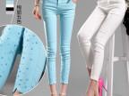 2015春夏韩版钉珠九分裤女显瘦七分外穿紧身小脚白色打底裤好质量