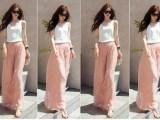 仙丫 2014夏流行款超仙纯色雪纺白色上衣+粉色阔腿裤套装修身女