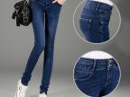 2015秋季新款女式牛仔裤韩版高腰排扣弹力裤修身显瘦小脚裤铅笔裤