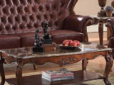 美式 实木雕花茶几 大理石面茶几 实木茶几别墅家具