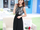2014新款夏装 不规则女装雪纺金鱼尾长裙 波西米西蕾丝刺绣仙长