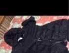 全新黑色修身中长款羽绒服170元大帽