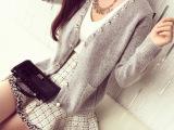 2015秋装新款女装韩版水钻珍珠修身长袖针织开衫外套