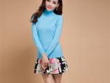 2014秋冬欧美时尚针织衫女毛衣高领羊绒衫短款打底衫针织毛衫批发