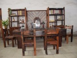 老船木茶桌仿古书房迷你小户型茶台中式办公室实木洽谈茶桌椅组合