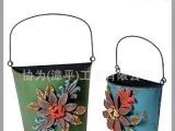 METAL手工制作彩绘壁挂铁艺小桶花盆