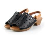 厂家直批 2014新款 简约粗跟牛筋底镂空洞洞鱼嘴大码真皮女凉鞋