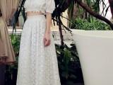 正品高端定制 一字领宫廷泡泡袖露肩上衣 白色蕾丝长半裙 套装