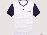 2014夏装新款男装 韩版休闲短袖碎花T恤男修身圆领半袖纯棉T恤