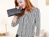 2013新款女装秋季韩版衬衫女修身显瘦大码V领打底小衫