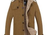 人生人冬装男式加绒大衣 男士风衣大衣立领保暧单排扣毛呢大衣男