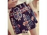 8050#2014春装新款女裙 复古几何图案 优雅短裙 修身半身