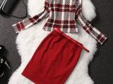 清仓 不退不换 长袖时尚优雅欧美风红色格子裙套装9516