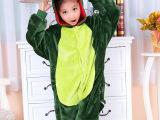 批发秋冬法兰绒绿恐龙儿童动物连体睡衣长袖儿童卡通家居服