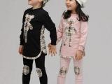 2014韩版春秋儿童格子卡通运动套装 男女童长袖纯棉泰迪熊童套装