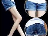 2015韩版女装夏季新款牛仔裤宽松大码休闲热裤翻边显瘦短裤潮流