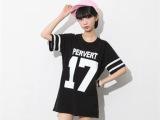 广州地摊货源便宜衣服 2014夏季新款女装宽松大码数字短袖T恤衫