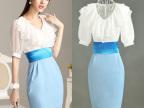 韩版连衣裙批发   蓝白雪纺拼接OL气质V领连衣裙