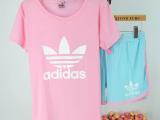 聚划算夏季短袖纯棉睡衣女 韩版休闲pink可爱家居服睡衣女套装