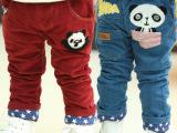 2014冬款新品  可爱卡通熊猫条纹可叠加绒休闲高品质童裤特价抢