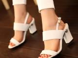 红色鞋白色结婚鞋真皮牛皮粗跟高跟凉鞋大码凉鞋
