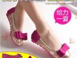 2014春季新款女单鞋平底大码真皮浅口平跟蝴蝶结豆豆鞋镂空女鞋