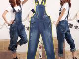 淘宝爆款 2015春夏新款女式宽松版牛仔裤背带牛仔裤一件代发S7
