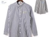 1108 韩式英伦风竖条纹字母印花衬衫
