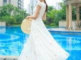 2015夏季新款女装波西米亚绣花白色雪纺碎花大摆连衣裙长裙沙滩裙