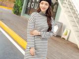 2015韩版女装 早春时尚新款~百搭学院风条纹长袖加绒长款卫衣3