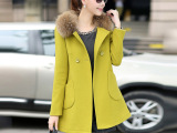 正品 秋冬新款韩版女装时尚真貂子毛领中长款羊毛呢子大衣外套潮