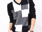 2013秋季新款修身韩版毛衣男V领青年潮男撞色针织衫长袖羊毛衫