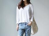 韩国女装外贸原单 韩范时尚t恤打底衫 长袖t恤女 纯色韩版女装