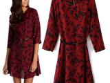 AS*OS  欧美新款女装批发 复古小鸟印花连衣裙