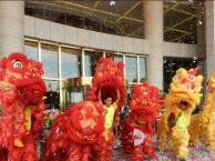 东市开业庆典礼仪,舞狮表演,拱门地毯横幅条幅布置得