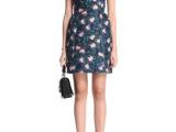 现货 2014新装秋款欧美风印花高腰圆领短袖连衣裙短裙