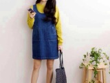 2014夏季新品女装连衣裙 韩版牛仔背带裙短款吊带裙 韩国牛仔裙