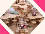 幼儿园月亮桌 山东厚朴幼儿园橡木月牙桌幼教儿童创意小桌子