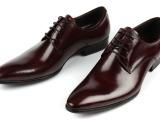 欧版真皮男鞋系带尖头低帮正装商务纯皮精致上班鞋工作皮鞋37码