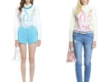 2014春装新款欧美风欧时新款可爱兔子印花衬衫白色长袖衬衣女