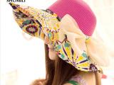 女士夏天韩版遮阳帽女 可折叠骑车太阳帽沙滩帽大沿户外防晒帽