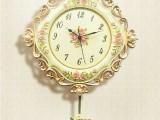 欧式田园大号树脂浮雕静音挂钟 时尚客厅创意钟表 铁艺镶钻钟表