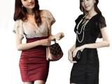 2014夏季新款女装 韩版修身显瘦交叉v领气质包臀裙短袖蕾丝连衣